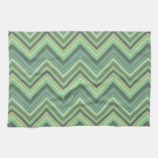 Olive green zigzag stripes kitchen towel