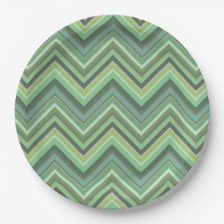 Olive green zigzag stripes paper plate
