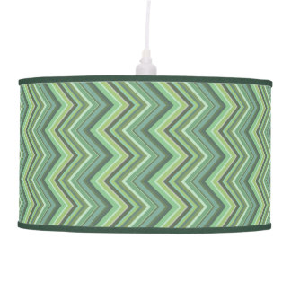 Olive green zigzag stripes pendant lamp