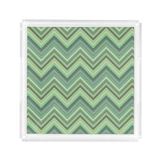 Olive green zigzag stripes perfume tray