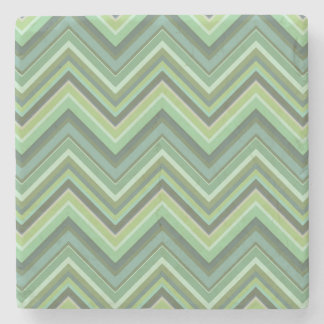 Olive green zigzag stripes stone coaster
