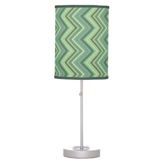 Olive green zigzag stripes table lamp