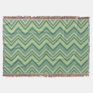 Olive green zigzag stripes throw