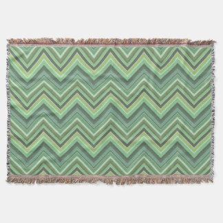 Olive green zigzag stripes throw blanket