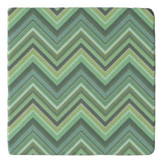 Olive green zigzag stripes trivet