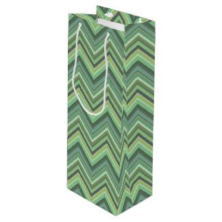 Olive green zigzag stripes wine gift bag
