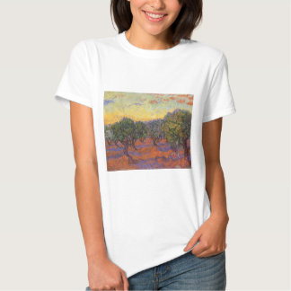Olive Grove, Orange Sky by Vincent van Gogh Shirts