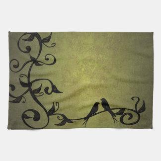Olive Grunge Vines Kitchen Towel