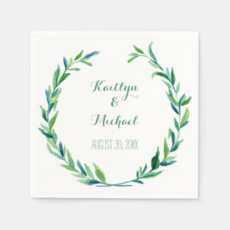 Olive Leaf Laurel Wreath Simple Modern Reception Paper Napkins