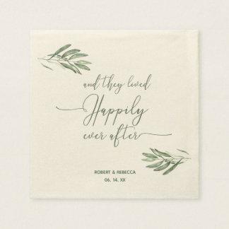 Olive Leaves Wedding Napkins Paper Napkin
