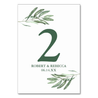 Olive Leaves Wedding Table Number Cards
