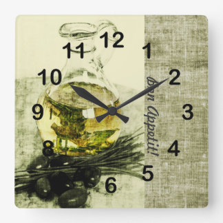 Olive oil bottle cooking still life square wall clock