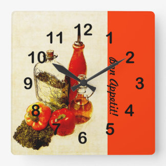 Olive oil bottles cooking still life square wall clock