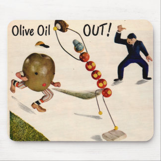 Olive Oil Out olive playing baseball Mouse Pad