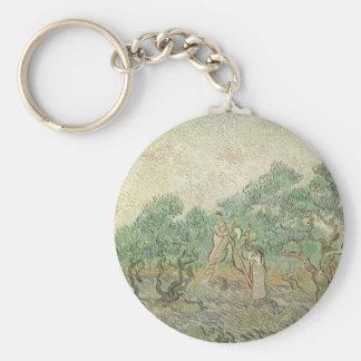 Olive Picking by Vincent van Gogh, Vintage Art Basic Round Button Keychain