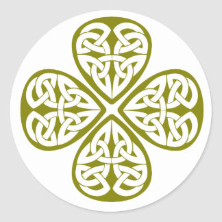 olive shamrock celtic knot classic round sticker