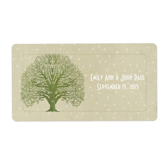 Olive Swirl Tree on Wood Grain Stars Save the Date