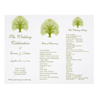 Olive Swirl Tree TriFold Wedding Program