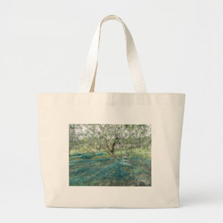 Olive tree in the garden large tote bag