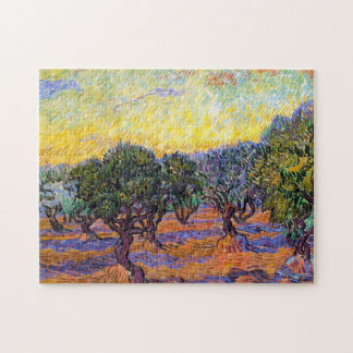 Olive Trees, Orange Sky  Van Gogh Vincent Jigsaw Puzzle