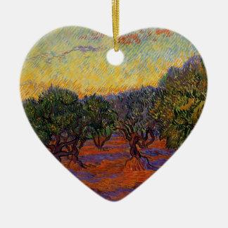 Olive Trees - Vincent Van Gogh Ceramic Heart Ornament