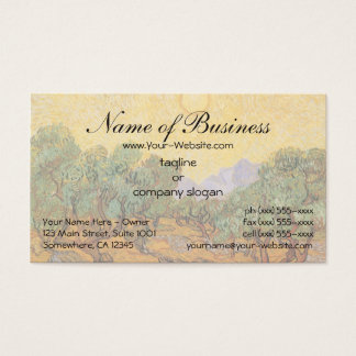 Olive Trees w Yellow Sky, Sun by Vincent van Gogh Business Card
