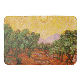 Olive Trees with Yellow Sky & Sun by Van Gogh Bath Mat
