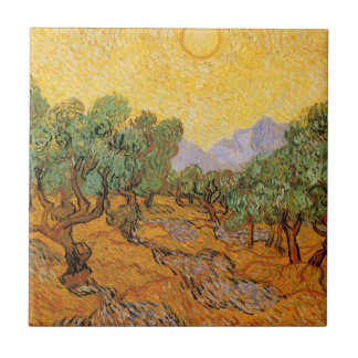 Olive Trees, Yellow Sky and Sun, Vincent van Gogh Tile
