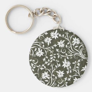 Olive Trumpetflower Floral Pattern Keychain