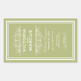 Olive Wedding Wine Bottle Monogram Favor Labels