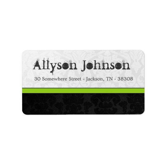 Olive, White & Black Vintage Address Labels