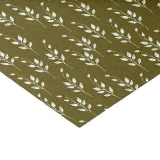 Olive & White Botanical Tissue Paper