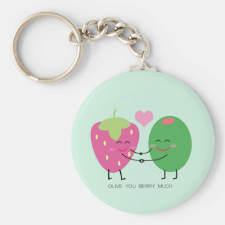Olive You Berry Much Basic Round Button Keychain