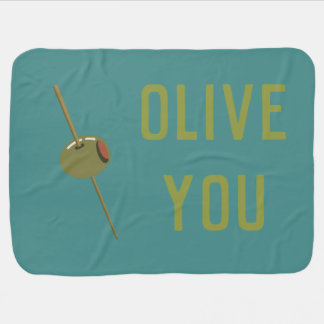 Olive You (I Love You) Funny Romantic Valentine Baby Blanket