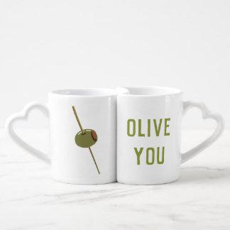 Olive You (I Love You) Funny Romantic Valentine Coffee Mug Set