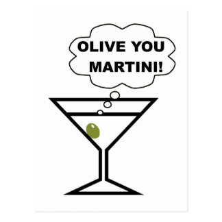 Olive You Martini Postcard