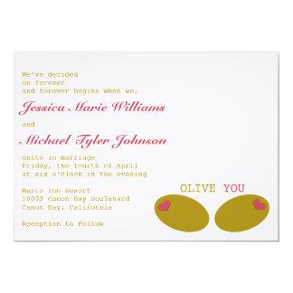 "Olive You Wedding 5"" X 7"" Invitation Card"