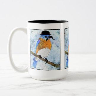 Oliver Bluebird with mustache, bowler mug