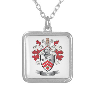 Oliver Family Crest Coat of Arms Silver Plated Necklace