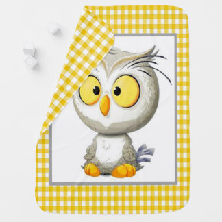 Oliver Owl Baby Blanket Yellow Gray White