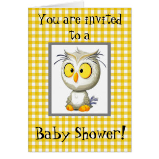 Oliver Owl Yellow & Gray Baby Shower Invitations