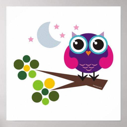 Oliver The Owl Print Kids Room Decor Zazzle