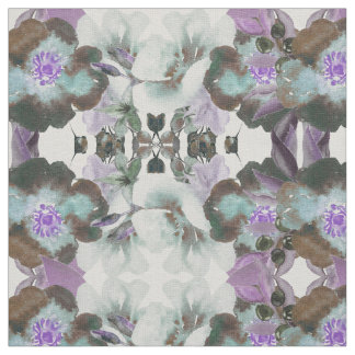 Olives and Leaves Watercolor Tile Print Fabric