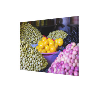 Olives And Lemon At Market Canvas Print