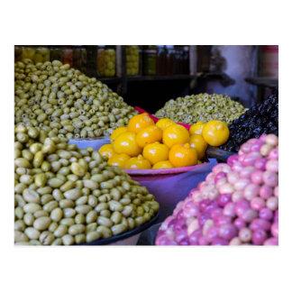 Olives And Lemon At Market Postcard