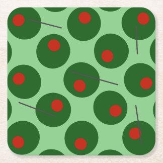 Olives Square Paper Coaster