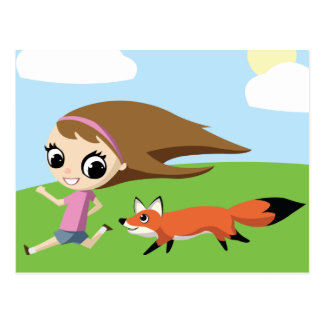 Olivia and Cheddar the Fox Postcard