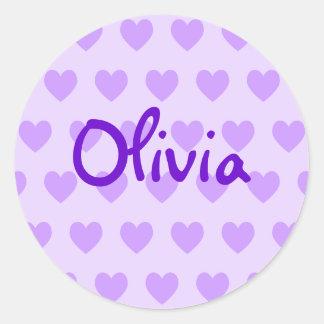 Olivia in Purple Classic Round Sticker