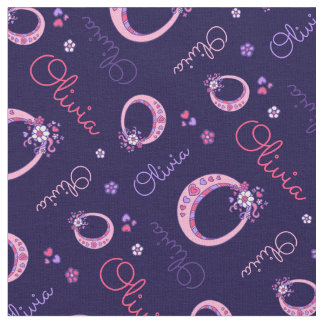 Olivia letter O monogram heart flowers fabric