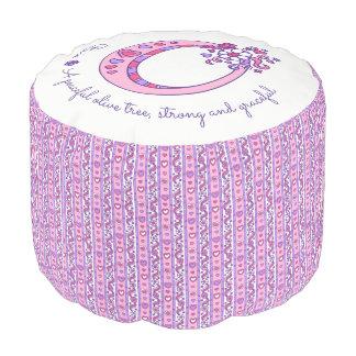 Olivia letter O monogram name meaning custom pouf